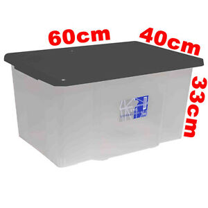 50L 50 Litre Large Size Plastic Clear Storage Boxes Set Container with Lid 150