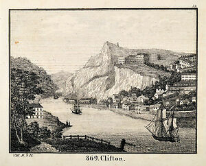 Clifton-England-Bristol-Orig-Lithograph-1831-aus-Bildergalerie-fuer-die-Jugend