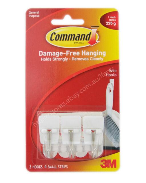 3M COMMAND Damage-Free Hanging Utensil Hooks 3 Hooks 4 Strips 225g 17067ANZ