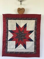 Handmade Quilted Wall Hanging With Star Design 23 X 20 Ready To Hang