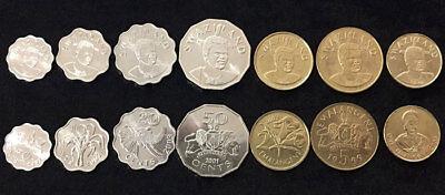 SWAZILAND SET 7 COINS 5 10 20 50 CENT 1 2 5 EMALAGENI 1999-2011 UNC