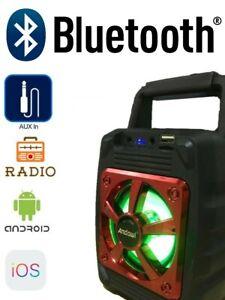 RADIO STEREO PORTATILE MP3 FM SD CARD USB CASSA BLUETOOTH VIVAVOCE RICARICABILE