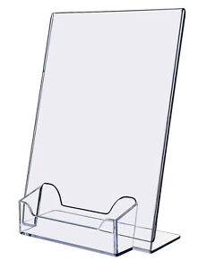 5 x 7 one piece mold slant back ad frame with business card holder image is loading 5 034 x 7 034 one piece mold reheart Gallery