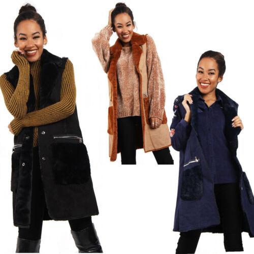 Womens Gilet Faux Suede Soft Fleece Lining Shearling Waistcoat Gilet Winter Coat