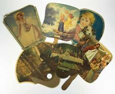 6 Vintage Funeral Rest Home Church Misc Paper Advertising Hand Fans Antique