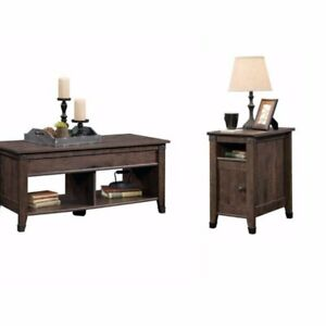 Rustic 2 Piece Coffee Table And End Table Sets In Oak Brown Ebay
