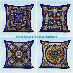 Tremendous Details About Us Seller 4Pcs Throw Pillows For Leather Couch Cushion Covers Spanish Talavera Pabps2019 Chair Design Images Pabps2019Com