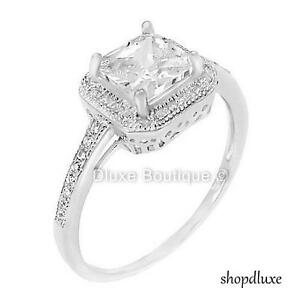 1-50-Ct-Halo-Princess-Cut-CZ-Sterling-Silver-Engagement-Ring-Women-039-s-Size-4-10