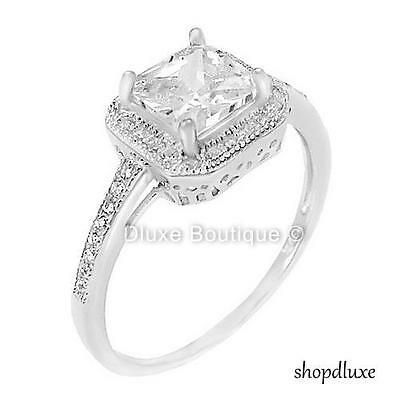 1.50 Ct Halo Princess Cut CZ Sterling Silver Engagement Ring Women's Size 4-10