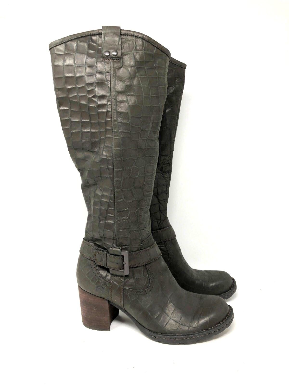 Born snake textured leather knee high boots brown heel buckle size 6.5