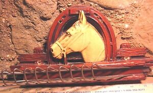 Antique HORSE HEAD Tie Rack Great Look Holds 11 Belts or Ties Beautiful Western