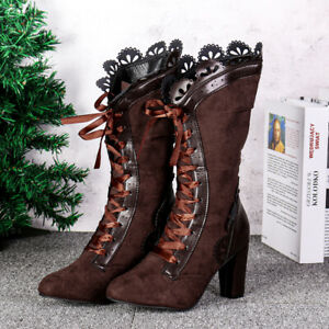 Women-039-s-Victorian-Lace-Steampunk-Gothic-Lolita-Shoes-Block-Mid-Calf-Boots