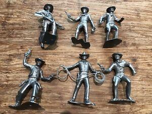 Recast-Marx-3-Inch-Cowboys-6-Cowboys-In-6-Poses-Silver-Color-Plastic