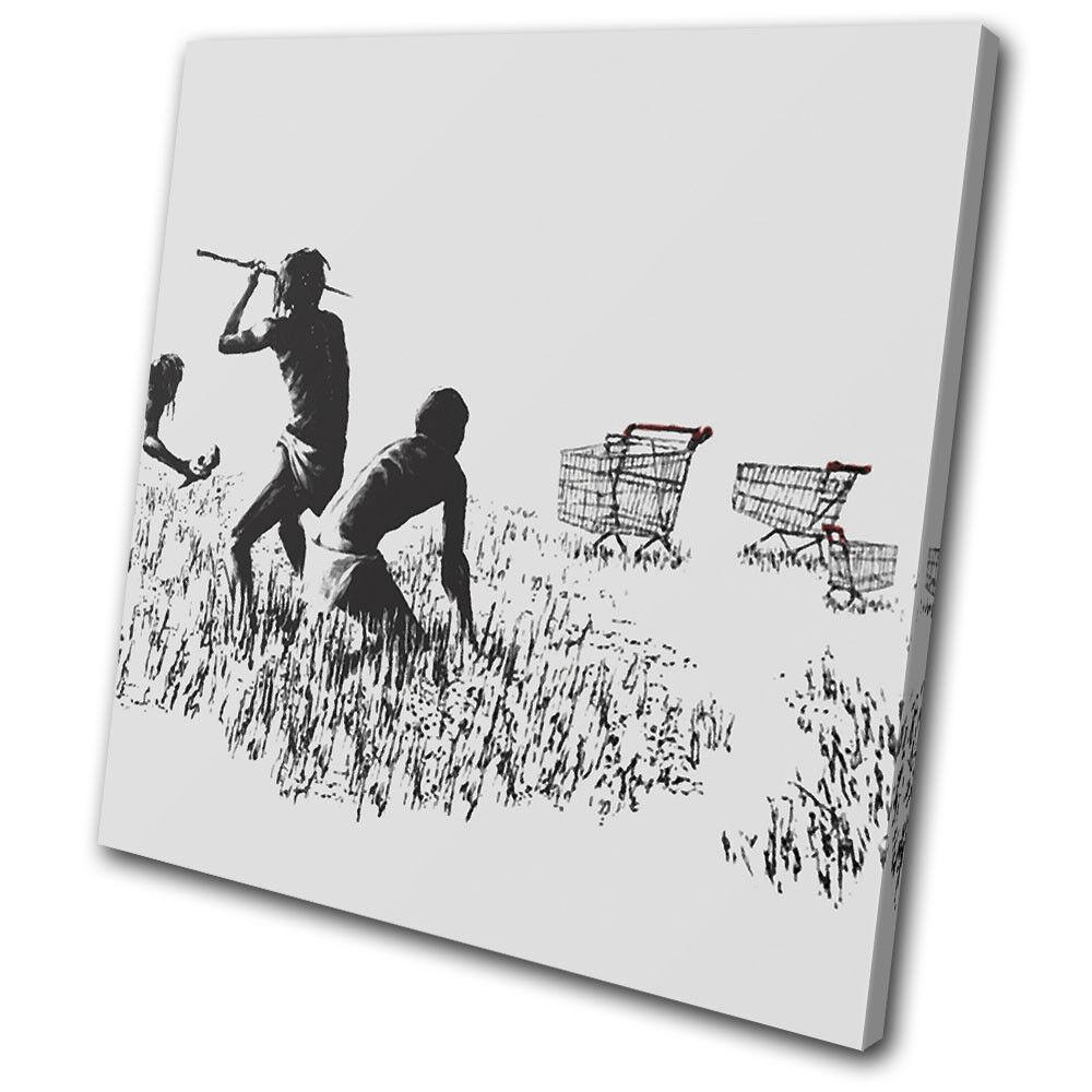 Trolley Hunters Urban Gift Banksy Painting SINGLE LONA pa rojo Foto  arte Foto rojo impresion 0e25fd
