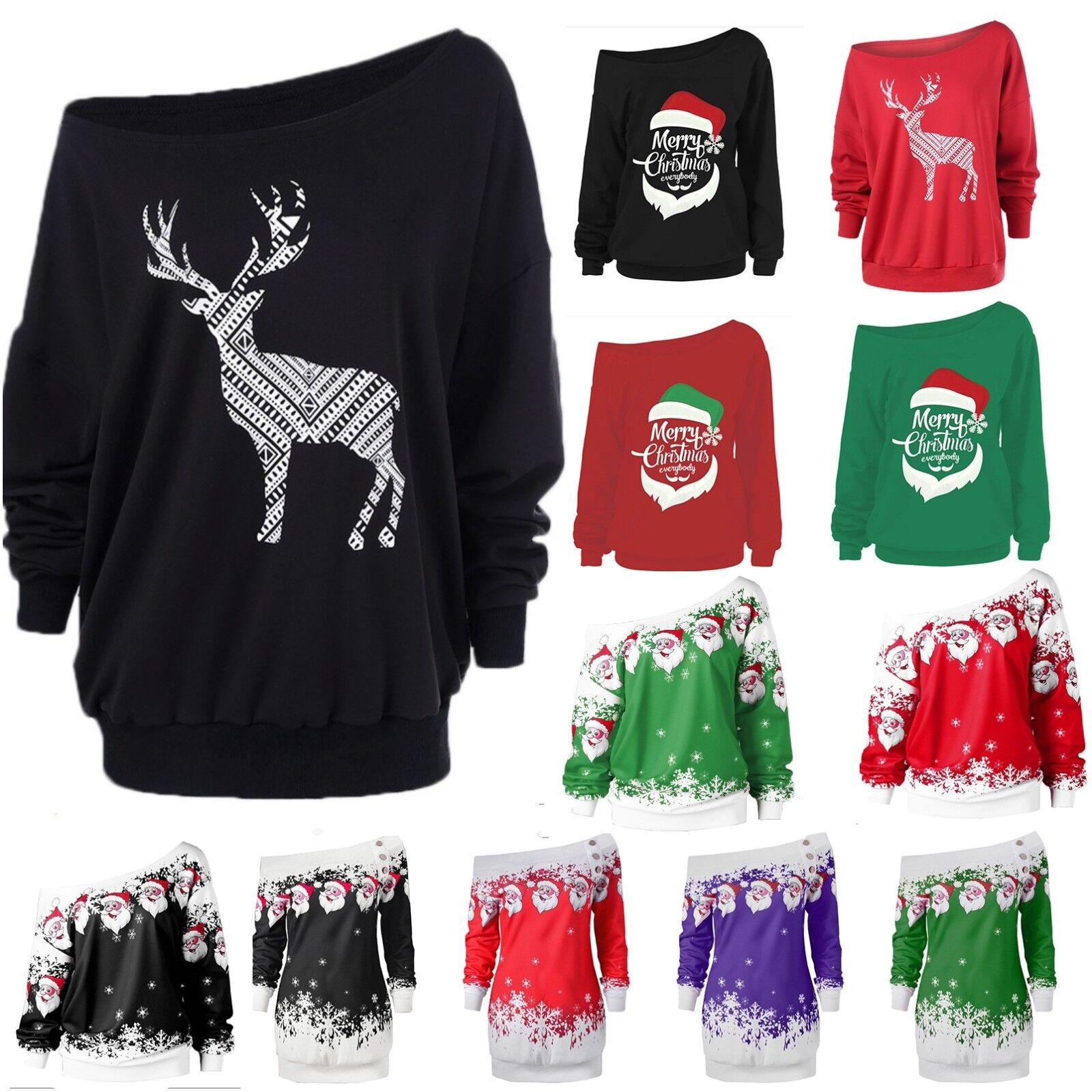 73cf1819e8f Womens Christmas Xmas Off Shoulder Sweatshirt Sweater Jumper Pullover Dress  Tops
