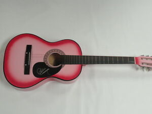 JANA KRAMER SIGNED HOT PINK ACOUSTIC GUITAR WHY YA WANNA ...