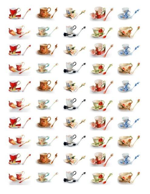 50 Rectangular Stickers/Seals Teacups Buy 3 get 1 free (tc1)