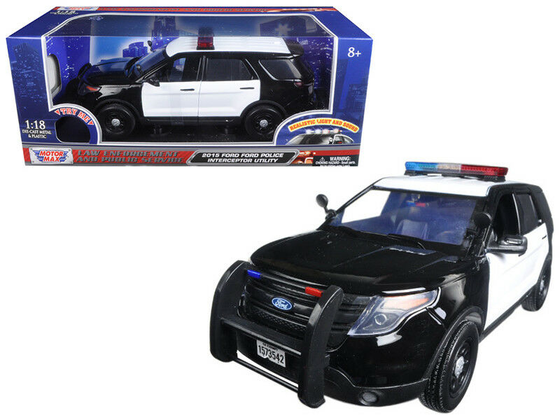 2015 Ford Police Interceptor Utility Black and White with Lights & 2 Sounds