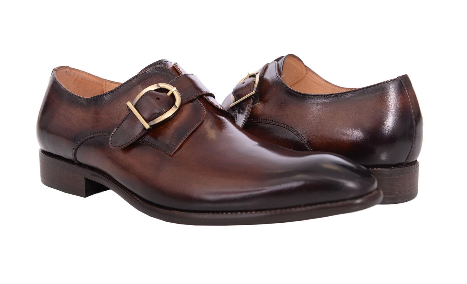 Carrucci Kastanienbraun Poliert Zehen Einzel Mönch Riemen Leder Kleid Schuhe