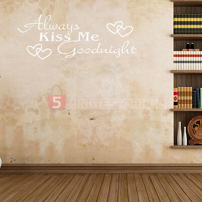 2x Always Kiss Me Goodnight Quote Words Wall Sticker Art Decal Mural Room Decor