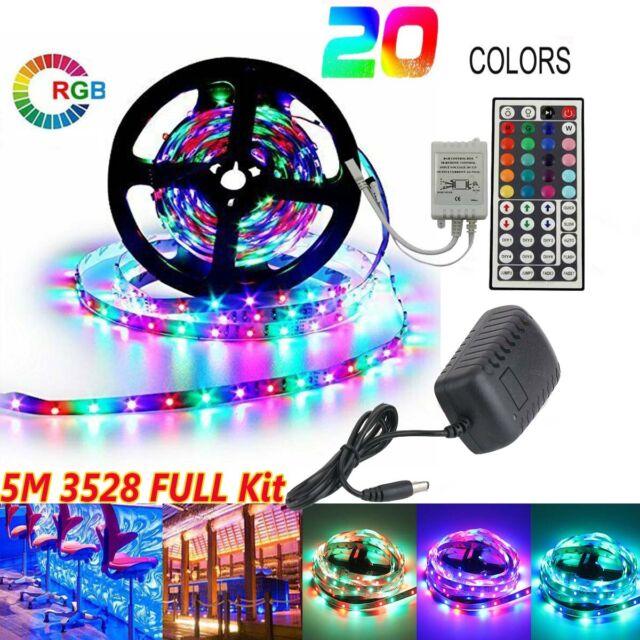 5M RGB LED Strip Lights 300 LED 3528+ 44 Key IR Remote+DC 12V AU Plug Power Kit