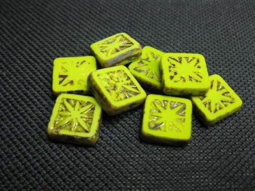 8 séquoia perles de verre vert 11x11mm 9814