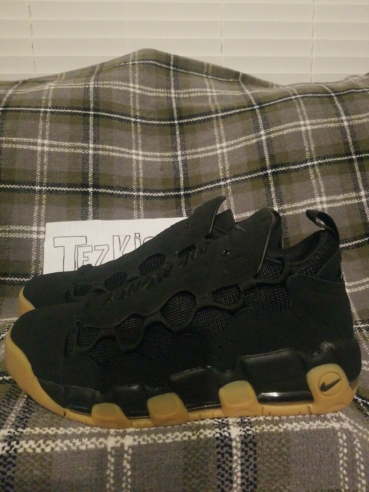 NIKE más dinegro UPTEMPO Negro Goma AIR Zapatos de baloncesto (AJ2998 004) Talla 9.5