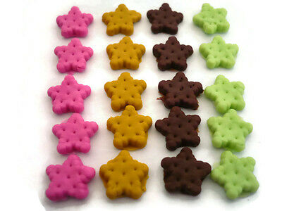 20 Loose Miniature Heart Pink Biscuit Dollhouse Miniatures Food Bakery Deco