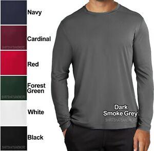 4X 2X 3X Mens Long Sleeve T-shirt Dry Zone Performance Moisture Wicking Gym S