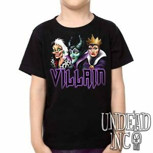 Disney Villains Cruella Maleficent Evil Queen Unisex Girls /& Boys T shirt Black