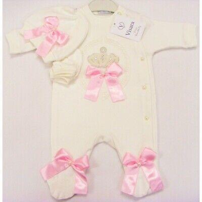 Cherish poupées reborn baby Girl Clothing Set Crème Bling Détail 0-3 3-6 6-9 UK