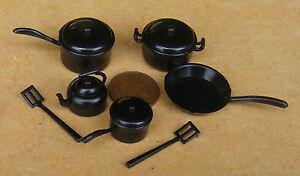 Échelle 1:12 En Plastique Noir Cuisine Set Tumdee Maison De Poupées Cuisine Accessoire-afficher Le Titre D'origine