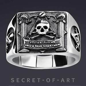 Freimaurer Ring Silber 925 Masonic Skull Totenkopf Memento Mori Biker Siegelring