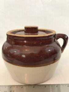 Vintage-Antique-Brown-Slip-Stoneware-Bean-Pot-With-Lid-Pottery-Crock