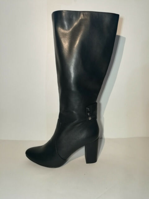 Anne Klein Nicoletta Womens Black Leather Knee High Zip Boots SZ 9