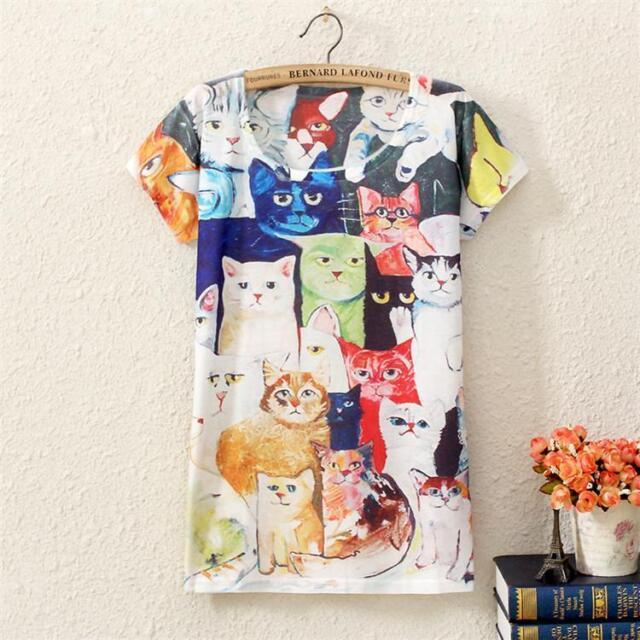 Womens Short Sleeve Cartoon Cute Cats Graphic Print T Shirt Rock Punk Top Tee
