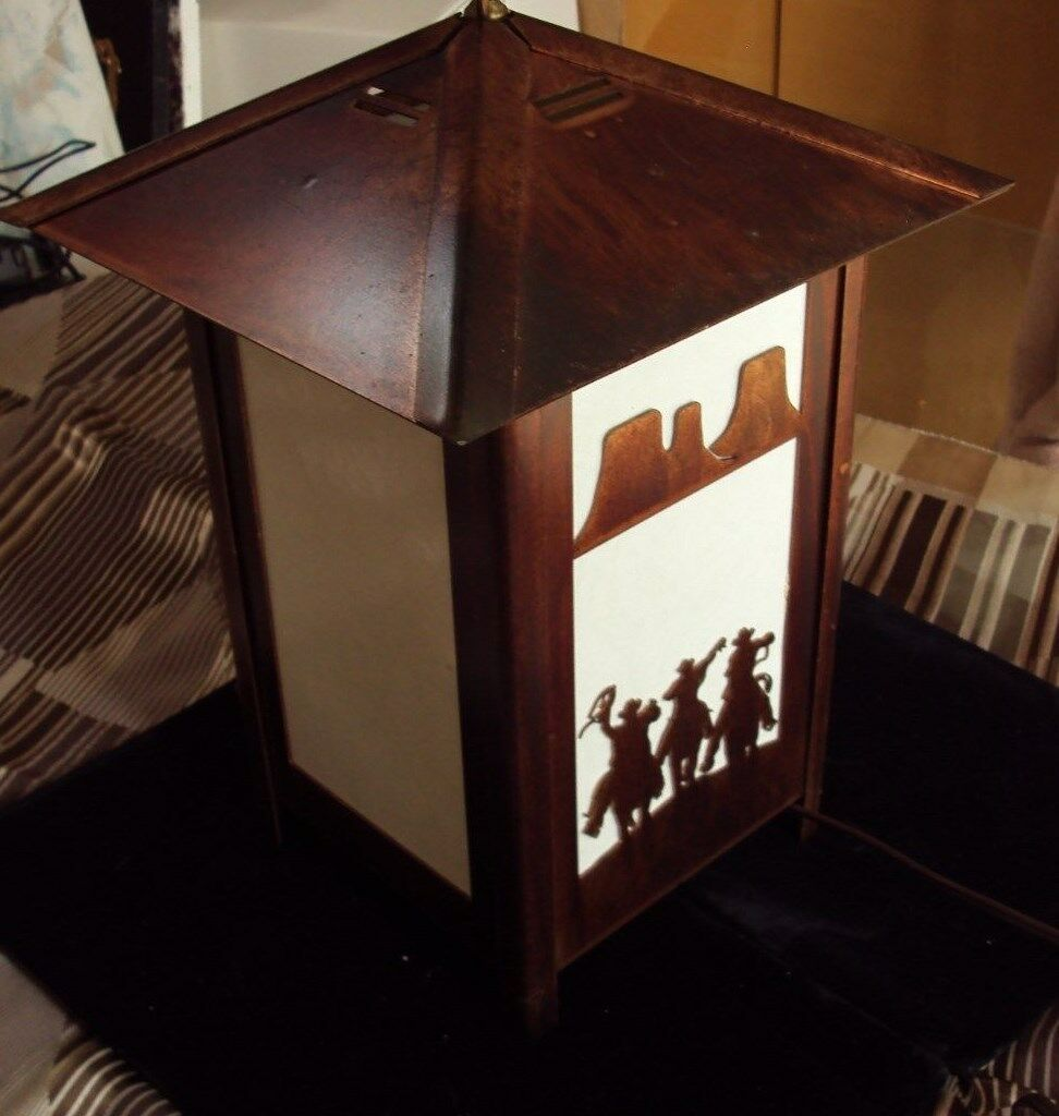 TABLE LIGHT  LAZER CUT THREE COWBOYS COPPER Farbe METAL