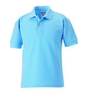 Russell Jerzees 539b Plain Sky Light Blue Polo Shirts 3 12yrs No