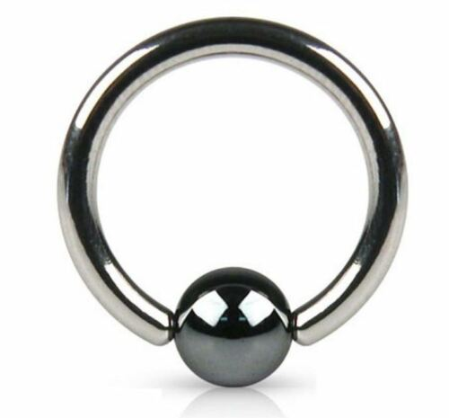 12G Captive Bead Ring with hematite ball 7//8 inch Sold Individually