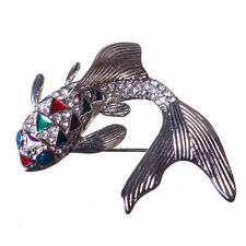 New Silver Tone  Enamel Crystal Carp Fish Brooch in Gift Box