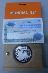 Original Año 1998. 1000 Pesetas Plata. Peso 13,50 Gr. Mundial De Fútbol Francia 1998.
