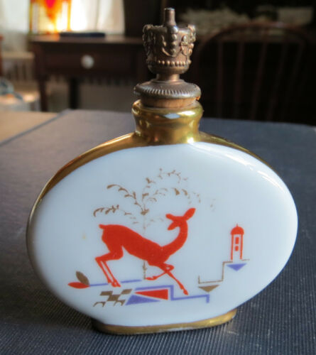 ANTIQUE ART DECO PORCELAIN PERFUME BOTTLE with DEER