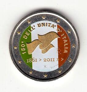 AV-VD-Italien-2011-2-Euro-Vereinigung-Farbe-Goldapplikation-CoA-VG1