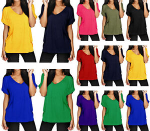 Stylish-New-Women-Ladies-V-Neck-Turn-Up-Short-Sleeve-Loose-Baggy-Fit-T-Shirt-Top