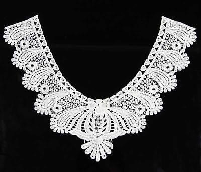 Off White Black Neckline Collar Costume Dress Applique Venise  Lace Trims Crafts