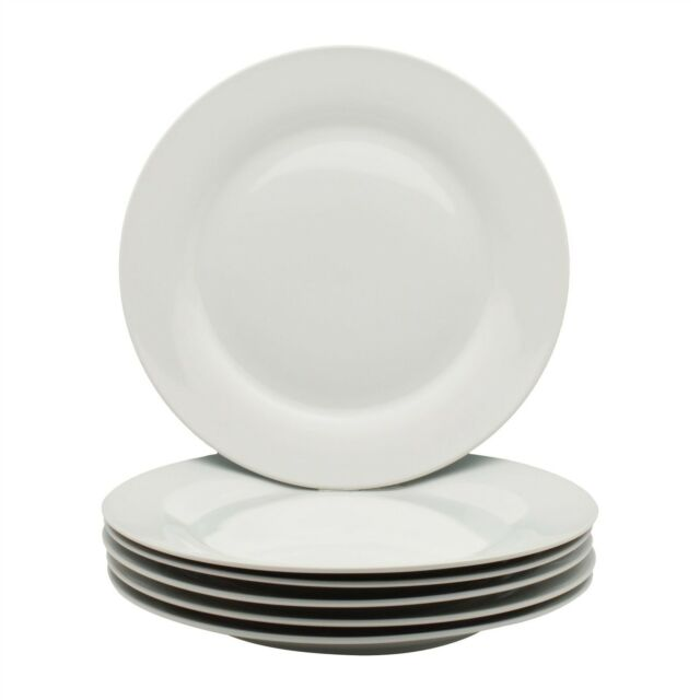 Set Of 6 Classic White Dinner Plates Round Wide Rimmed High Quality