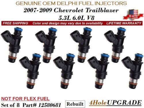 8 Fuel Injectors 4Hole OEM DELPHI for 2007-2009 Chevrolet Trailblazer 5.3L 6.0L