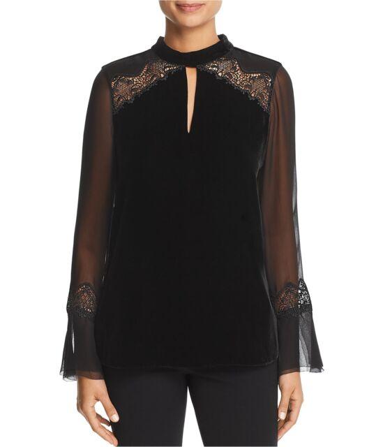 Elie Tahari Womens Silk Sleeve Velvet Pullover Blouse, Black, Large