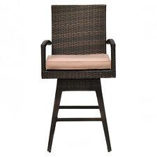 Outdoor Wicker Swivel Bar Stool Chair Patio Backyard Furniture w/ Seat Cushion