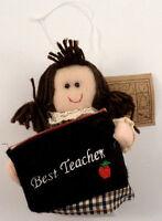 Best Teacher Gift Card Holder Holiday Ornament Brunette Hair